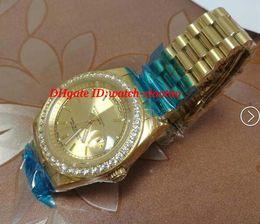 роскошные часы из чистого золота Скидка Роскошные наручные часы 18k желтое золото мужские большой алмаз твердые алмазные часы 41 мм автоматические мужские часы мужские часы высокое качество