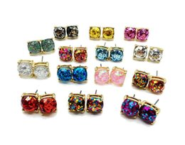 Wholesale Rainbow Druzy - Fashion Glitter Druzy Drusy Square Dot Earring 14 Colors Gold Plated Small Cute Shinny Rainbow Opal Ear Stud for Women Girls Jewelry
