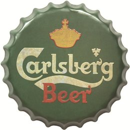 Wholesale metal sign printing - Carlsberg Beer 40cm Metal Printed Beer Bottle Cap Vintage Tin Signs Bar Food Shop Room Wall Decor Poster Neon Signs for Bar