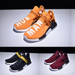 Wholesale Race Collection - New Pharrell NMD Human Race yellow maize white 'Hue' text Men slip-on Sneakers Running Shoes Trainings Real boost Collection BB3070