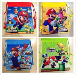 Wholesale Kids Super Mario School Bag - 12Pcs Super Mario Bros Drawstring Bag Cartoon Backpacks Kids School Bags Childrem Birthday Party Favor Shopping Bags Gifts