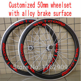 Wholesale Alloy Carbon Road Bike - New customized 700C 50mm clincher rim Road bicycle 3K UD 12K carbon fibre bike wheelsets with alloy brake surface Free shipping