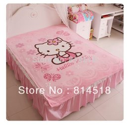 Wholesale Coral Fleece Bedspread - 2pcs lot Hello Kitty Coral Fleece Blanket Quilt Bedspreads Baby Sleeping Cover Plaid Free Shipping