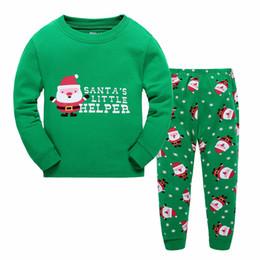 Wholesale Girls Long Stocking - New Christmas Xmas Boy girl Santa Claus Pajamas 2016 new Cotton cartoon long Sleeve Pants Suit Children Pajamas free shipping in stock