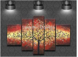 Wholesale Set Painting Wall Orange - shipping hand painted Abstract rich tree Orange red oil painting set on canvas oil picture 5 piece wall art home decor F3