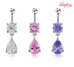 Wholesale 3pcs Girl Women - 3pcs lot 2016 New fshion 316L Surgical Steel Girls Water Drop Belly Button Ring with Zircon 14G Navel Ring Dangle Women Body Jewelry