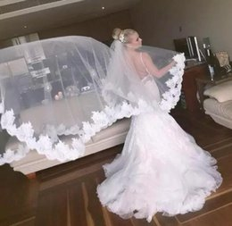 Wholesale Three Layer Cathedral Veil - Best Selling Cathedral Veil Three Meters Long Veils Lace Applique One Layers Cheap Bridal Veil Vestidos No Loogo