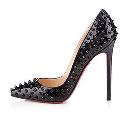 Wholesale Stiletto Heel Pointed Shoes - 2017 Fashion Red Bottom Shoes New Arrival High Heels Dress party Shoes Super Stiletto High Heel Rivets Pumps size EU 34 to 45