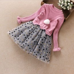 Wholesale Flannel Baby Clothes - Baby girls cashmere sweater skirts children winter warm fashion stars dress kids girl boutiques clothes top quality