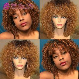 duas pernas de cabelo humano Desconto Ombre 1b / 30 bob peruca de cabelo humano peruca cheia do laço peruca dianteira do laço cor ombre dois tons kinky curly bob peruca para as mulheres