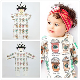 Wholesale Cartoon Wholesale Ice Cream - Toddler Infant Baby Rompers Ice Cream Bottle Jumpsuits Newborn Boys Girls Bodysuits Outfits One Piece Cartoon Kids Clothes Short Long Sleeve
