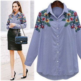 Wholesale Strip Blouse - Fashion Denim Shirt Ladies Cotton Long-sleeved Embroidery Floral Design Navy Blue Autumn Women's stripped Blouse Shirts