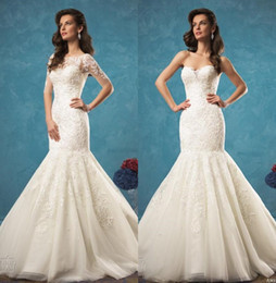 Wholesale Wedding Jacket Models - Full Lace 2016 Wedding Dresses Mermaid Formal 2017 Amelia Sposa Lace Bridal Gowns Strapless Covered Button Court Train Jacket Wedding Gowns