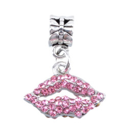Wholesale European Charm Dangle Blue - Fits Pandora Bracelets 30pcs Cherry lips Kiss Silver Charms Bead Dangle Charm Beads For Wholesale Diy European Sterling Necklace Jewelry