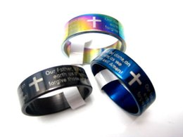 Wholesale English Cross Rings - brand new 30pcs English Prayer Bible Lords stainless steel band cross rings large sizes wholesale lot