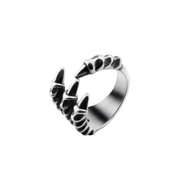 Wholesale Gothic Dragon Jewelry - Wholesale 10Pcs lot Hot Sale 2017 Fashion Biker Rings Titanium Steel Mens Rings Vintage Gothic Jewelry Dragon Claw Silver Rings Size 8-11