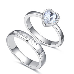 4b093c094 Heart Lovers Ring For Women And Men Silver Color Jewelry Crystal from  Swarovski Elements Couples Rings Accessories .26535