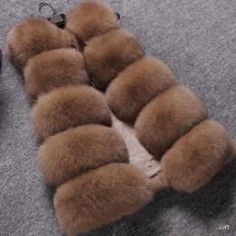 más el chaleco de la piel del zorro del tamaño Rebajas Nuevo 2017 Abrigo de invierno Chaleco de piel de mujer de alto grado Abrigo de piel sintética Ocio Mujeres Fox Fur Chaleco largo 11Colours Plus Size: S-XXXXL