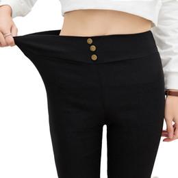 Wholesale Elegant High Waist Trousers - Wholesale-New Fashion Womens Elegant Lady Black High Waist Plus Size Female Korean Stretch Pencil Pants Females Casual Slim Trousers Women