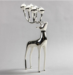 Wholesale Votive Chandelier - deer shape metal candle holder, 6-arms candelabra with 6pcs free candles, decorative candle stick