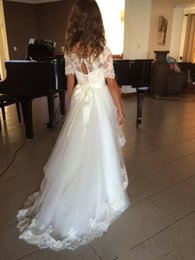 Wholesale French Gowns - New Sexy V Back French Eyelash Lace Wedding Dresses Appliques Sweep Train Beach Bridal Gown Long Simple Boho Wedding Bridal Gowns Elegant