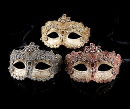 Wholesale Wholesale Silver Masquerade Masks - New Venetian masquerade ball masks Elegant lace mask with rhinestones Festive and party supplies Gold red and silver colors Drop shipping