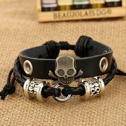 Wholesale Men Leather Bead Bracelet - .Fashion Charm Bracelets Handmade Skull Charm For Men Multilayer Infinity Alloy Beads Wide Leather Bracelets Jewelry free shipping