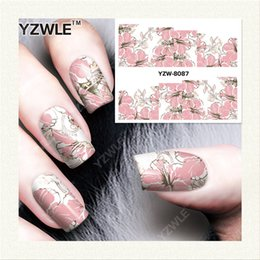 Wholesale Nail Salon Art Prints - 1 Sheet DIY Decals Nails Art Water Transfer Printing Stickers Accessories For Manicure Salon YZW-8087