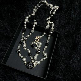 Wholesale Pearl Green Bead Necklace - Long Simulated Pearls Beads Necklaces For Women No.5 Double Layer collane lunghe donna camelia maxi necklace Party Necklace