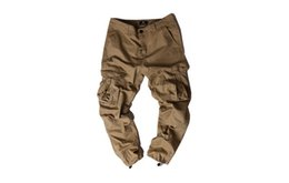 Wholesale Match Men Cargo Pants - European and American high street fashion overalls and trousers, multi-bag trousers, men's tight color matching style