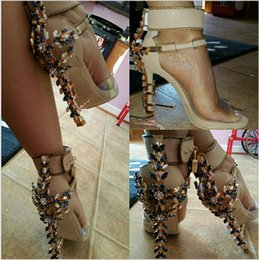 Wholesale Ankle Wrap Boots - 2016 Women Abnormal High Heels Impera Rihanna Spiked Sandals Boots Strapless Rhinestone Lock Diamonds Studds heels Wedding Shoes Lady Hot