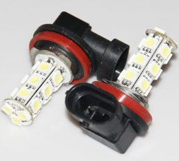 Wholesale Headlight Bulbs Size - LED H8 Size DRL Fog Light Plug-n-Play LED 5050 18SMD Super Bright White   Red Projection Headlight Bulb