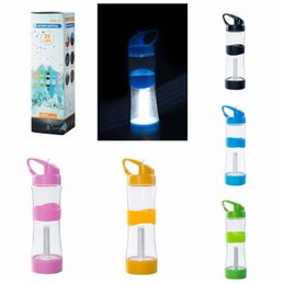 Wholesale Led Lights For Plastic Cups - 5 Colors 20LED Flashing Light Bulb Bottle Cup For Club Bar Party Gift Outdoor Sports Cup Mug LED Water Bottles CCA7546 60pcs