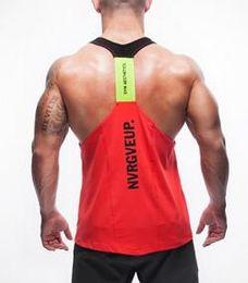Wholesale Y Back Top - Hot sale Men Singlets Stringer Y BACK Racer Tank Tops Bodybuilding Tank Vest Fitness Gold's Gym Muscle Sport Shirts Gym Clothes hight qualit