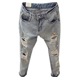 Wholesale Women Harem Brand Jeans - 2016 New Brand Summer Style Jeans Women Boyfriend Ripped Holes Harem Denim Pants Femme Vintage Beading Jeans For Women