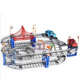 Grande faixa de carro modelos de brinquedos diy brinquedos eletrônicos multi-storey Variedade faixa de carro montado faixa de velocidade elétrica brinquedos educativos para crianças 73 de Fornecedores de carro elétrico educacional
