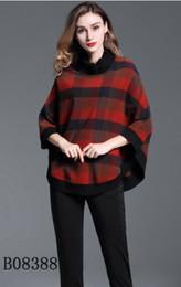 Wholesale Cotton Cloaks - New arrival! women fashion short style cloak wool jacket brand designer plaid loose winter short jacket outerwear for women S-XXL B8378F240