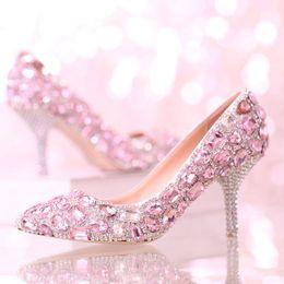 Wholesale Kitten Princess - Pink Crystal Wedding Shoes New Designer Women high-heeled pointed toe shoes rhinestone princess single pumps Bridesmaid Shoes