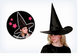 Wholesale Costume Characters For Sale - 50pc 2016 Cool Adult Women Black Witch Hat For Halloween Costume Accessory Hot Sale Costume Party Props Free Shipping