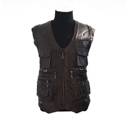 Wholesale Men Cow Leather Jacket - Fall-Free Shipping Men's Leather Coats vest cow leather Waistcoat cowskin Men's jackers and coat Outerwear leather jacket wholesale