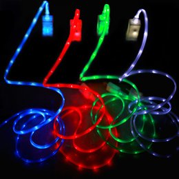 v8 cable color Promo Codes - Illuminated 1m 3ft LED Light Micro USB V8 Flat Visible Noodle Data Charger Cable For Samsung S3 S4 S6 HTC NOKIA