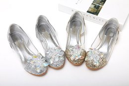 Wholesale Dancing Shoes Woman - Handmade Little Big Girls Princess Shoes Cinderella Crystal Shoes Performance Shoes Big Flower Diamand Low Heel for Latin Dance Party