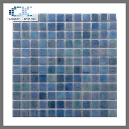Wholesale Glass Tiles Swimming Pool - spain recyle glazed square glass mosaic exterior wall tile for swimming pool