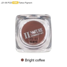 Wholesale Bright Pigment - Wholesale- PCD Professional Permanent Makeup Ink Eyebrow Tattoo Ink Set Lip Microblading Pigment 10ML J21 1 Piece Bright Coffee