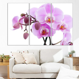 Wholesale Orchid Paintings Canvas - HOT 3PCS canvas painting Wall Picture Home Decor Painting printed pink orchid flower on canvas no frame (No Frame)