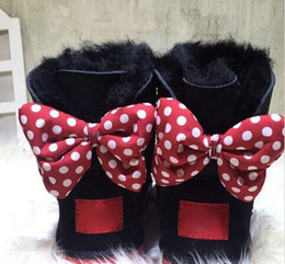 Wholesale Black Bow Tie Heels - Christmas CLASSIC DESIGN SHORT BABY BOY GIRL WOMEN KIDS BOW-TIE SNOW BOOTS FUR INTEGRATED KEEP WARM BOOTS EUR SZIE 25-41 FREE SHIPPING