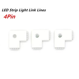 Wholesale Types Led Light Strips - 4pin RGB Led Strip L-type corner Connector Clip Cable Led L Tape Extension Wire For 3528 5050 RGB Strip light