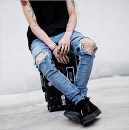 Wholesale urban jeans men - 2016 Men's Ripped jeans With Zipper Skinny Cool Slim Fit Mens Kanye West Jeans Urban Jeans Pants For Men