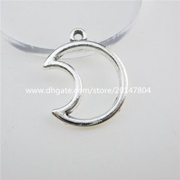 Wholesale Bright Silver Charms - 12740 25PCS Alloy Bright Silver Tone Mini Moon Pendant Charm