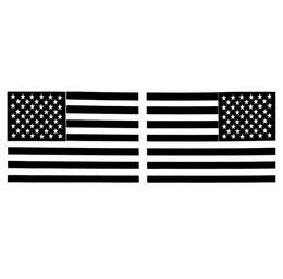 Canada 1 paire 6 pouces autocollant de voiture noir drapeau américain miroir inversé vinyle autocollants de voiture 15,5 cm * 10,5 cm Offre